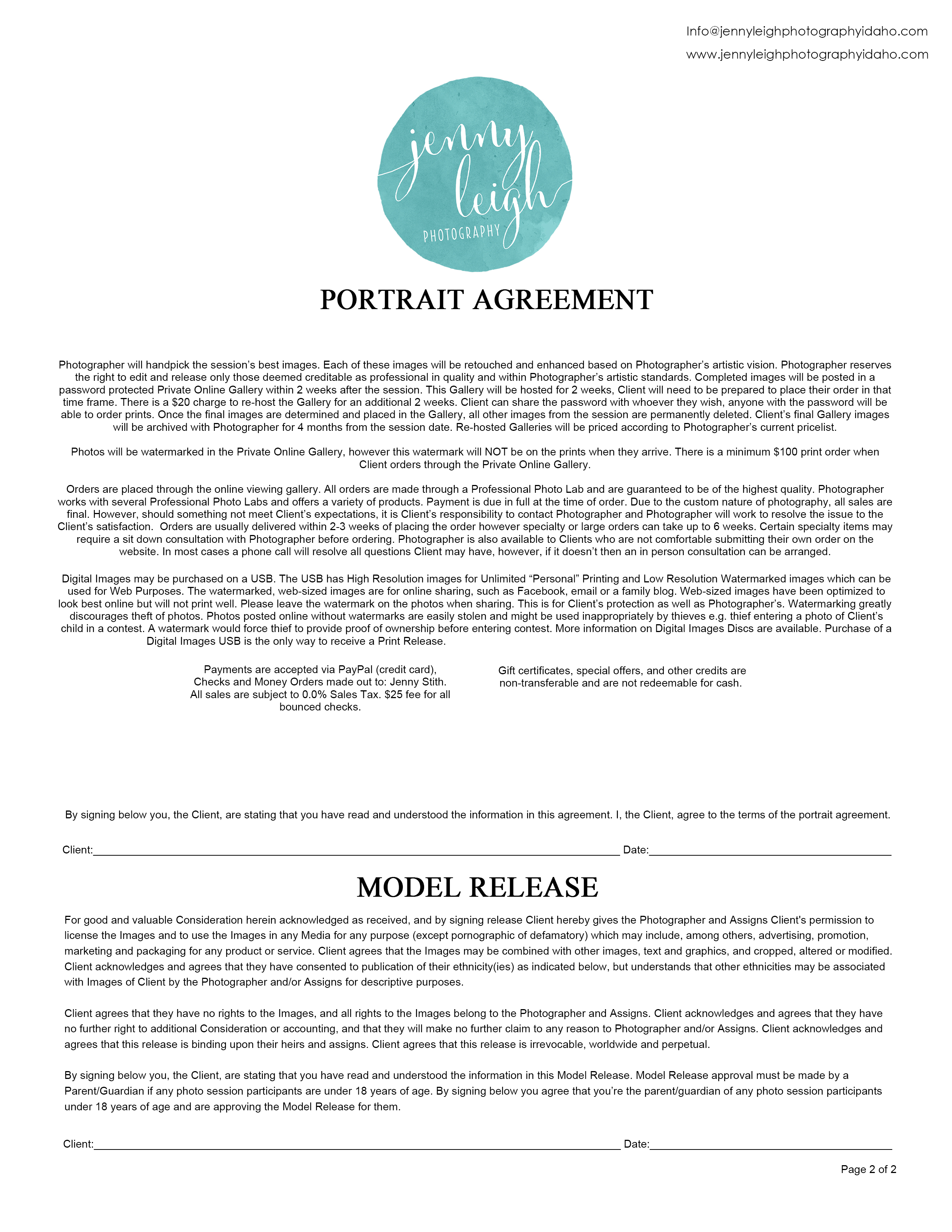 Portrait Agreement Model Release Jenny Leigh Photography